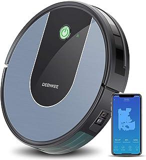 DEENKEE DK700 - Robot aspirador con control por aplicaci?n, control por voz Alexa, navegaci?n por giroscopio y carga autom?tica para pelo de animales, alfombras, suelos duros
