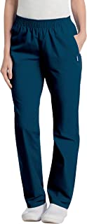 Landau Women's Comfortable Relaxed Fit 2-Pocket Elastic Waist Scrub Pant, Navy, Small Petite