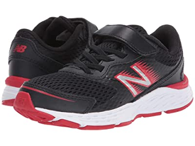 New Balance Kids 680v6 Bungee (Little Kid/Big Kid) (Black/Team Red) Boys Shoes