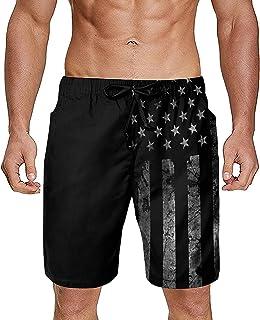 Gdewcro Vintage Black American Flag Mens Summer Swim Trunks Quick Dry Board Shorts Beach Shorts with Mesh Lining