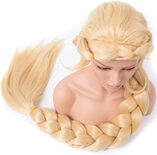 Hairpieces Straight Cosplay Princess Braided Extra Long 140cm Blonde Color Synthetic Long Briad Wig Hair Extensions (Color...