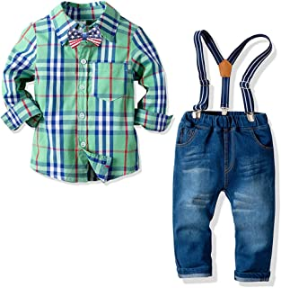 Nwada Little Boys Clothes Sets Bow Ties Shirts + Suspenders Pants Denim Jeans Toddler Boy Gentleman Outfits Suits