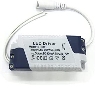 BSOD (12-18)x1W Constant Current 300mA High Power LED Driver AC 85-165V Output36-72V External Power Supply LED Ceiling Lamp Rectifier Transformer (1 Pack)
