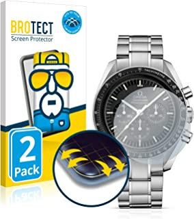 BROTECT Protector Pantalla Completa Compatible con Omega Speedmaster Moonwatch Professional (42 mm) (2 Unidades) 3D Curvo