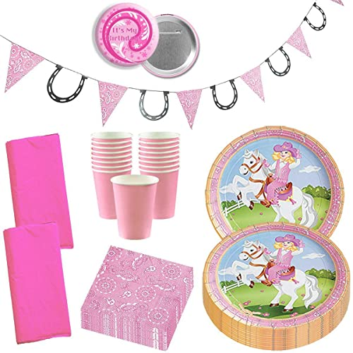 Cowgirl Party Supplies Western Wild West Horse Pink Girly Birthday Disposable Tableware