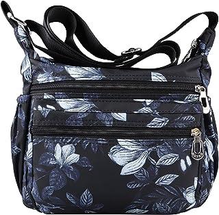 NOTAG Damen Umhängetasche Wasserdicht Nylon Schultertasche Multi Tasche Messengertasche (Schwarz1)