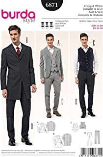Burda Style 6871 Steampunk Men's Suit and Vest Sewing Pattern Sizes 34-50