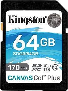 Kingston SDG3/64GB Carte mémoire SD Card ( 64GB SDXC Canvas Go Plus 170R C10 UHS-I U3 V30 )