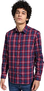 DJ&C By FBB Checkered Sleeves Regular Fit Shirt