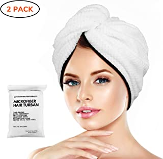Microfiber Hair Towel Wrap Turban - Quick Dry Head Wraps Women Towel Hair Wrap Travel Towel Twist Hat Magic Drying Shower Wrap Absorbent Turbans Wrap for Sleeping Accessories - Double Hair Towel