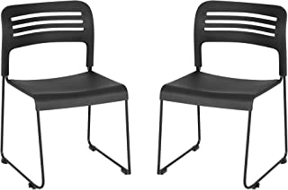 Learniture LNT-EYG1200-SO Stackable Chair with Sled Base (Pack of 2), Black/Silver
