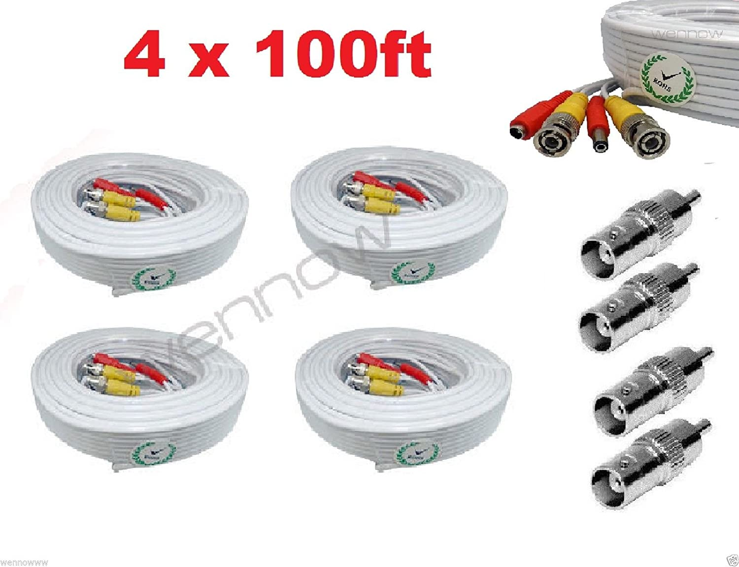 Wennow Premium Quality 4x100Ft Super intense SALE Video and C Free shipping New for Zmodo Power Cable
