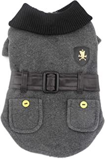 SMALLLEE_LUCKY_STORE Pet Clothes for Small Dog Cat Woolen Winter Coat Jacket with Faux Leather Belt Fall Clothing Grey