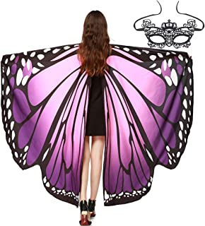 Women Girl Butterfly Wings Shawl Fairy for Halloween,Ladies Butterfly Cape Wings with Lace Mask,Bat Eye Mask for Thanksgiving,Adjustable Cape Nymph Pixie Costumes for Cospaly Dancing wedding