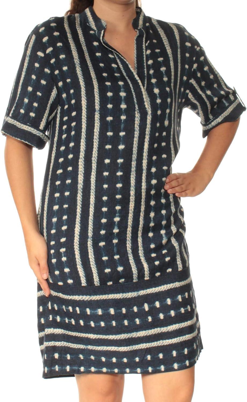 Ralph Lauren Womens bluee Printed Short Sleeve V Neck Above The Knee Shift Dress US Size  6