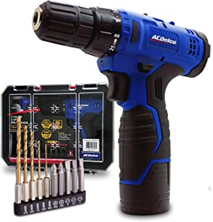 "ACDelco ARD12126S1 12V Lithium-Ion Cordless 2-Speed 3/8"" Drill Driver Kit (10 Bits,.."