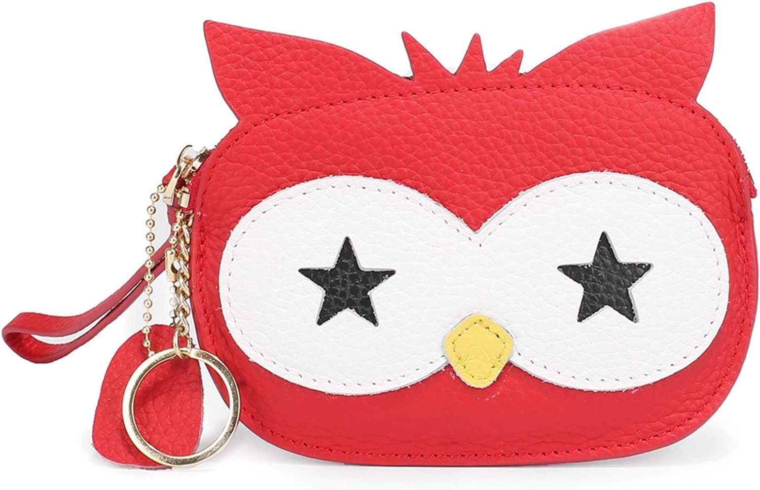 LIUMANG Coin Purse Ladies Leather Change Wallet Coin Pouch Key Bag with Key Chain Charming Lovely Design Owl Shape Coin Purse Mini Coin Purse (Color : Red, Size : 14.5x11.5x1cm)