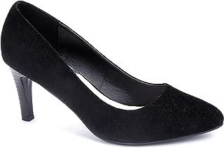 Women Pointed Toe Mid High Heel Velvet Dress Court Shoes