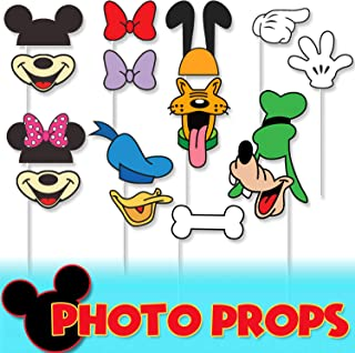 Cartoon Characters Happy Birthday Photo Booth Props 15 Pcs Party Decorations Perfect for Selfie Props Accessories on Sticks Baby Shower Birthday Party Favors Theme Decor Supplies