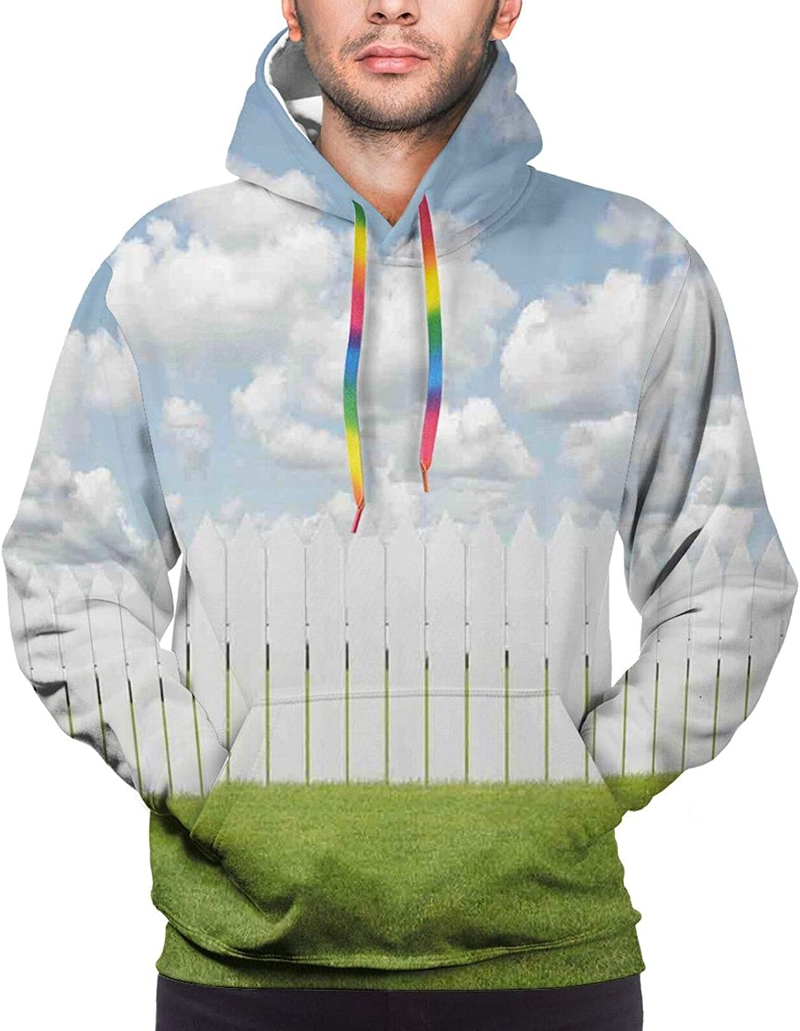 Men's Hoodies Sweatshirts,Exquisite Old Historical Town Paint with Impressionist Influences Winter Image