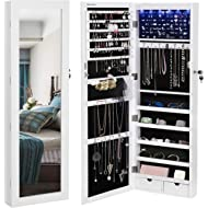 SONGMICS 6 LEDs Mirror Jewelry Cabinet Lockable Wall/Door Mounted Jewelry Armoire Organizer with...
