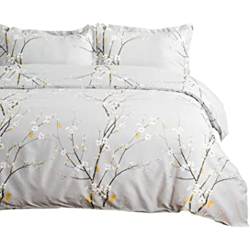 Bedsure Duvet Cover Set Twin Light Grey Printed Spring Bloom Pattern (68x90 inches) 2 Pieces Comforter Cover Zipper Closure (1 Duvet Cover + 1 Pillow Sham) Ultra Soft Hypoallergenic Microfiber