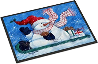"""Caroline's Treasures PJC1078MAT Come Ride with Me Snowman Indoor or Outdoor Mat, 18 x 27"""", Multicolor"""