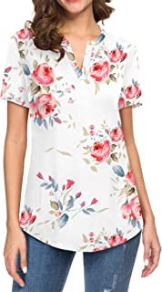 Women Short/Long Sleeve Floral Printed Shirt Tunic V Neck...