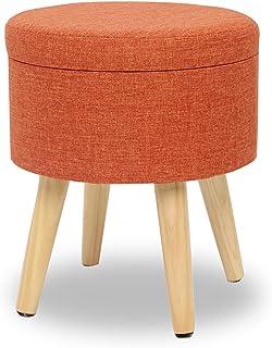 Suhu Redondo Puff Baúl Taburete Asiento Otomana Almacenamiento Elegante Patas de Madera Maciza Asiento Naranja