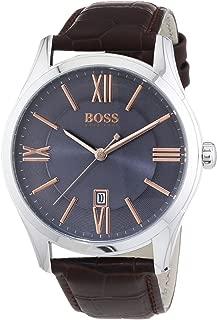 Hugo Boss Men's Ambassador Brown Leather Strap Watch 43mm 1513041