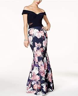 Xscape Womens Petites Floral Print Mermaid Evening Dress