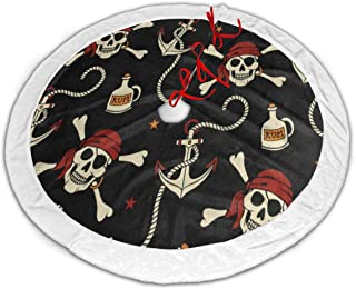 Ladninag Pirate Star Skull Christmas Tree Skirt 36 inch White Plush Faux Fur Xmas Tree Skirt Mat for Halloween Holiday Party Home Decoration Gift Indoor Outdoor 36