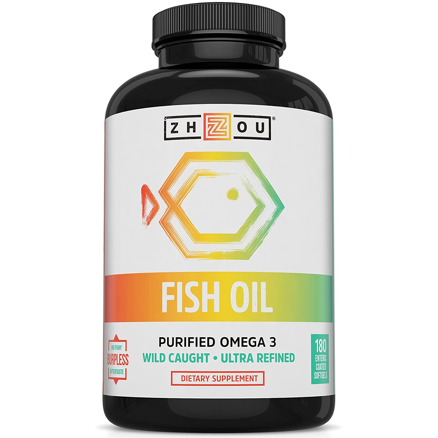 Fish Oil - Max Strength Omega 3 Fatty Acids with EPA and DHA from Purified, Sustainably-Sourced Fish Oil- Heart, Joint and Brain Health Formula - High Potency, Burpless Fish Oil Softgels