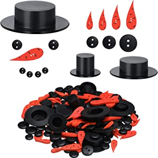 50 Pieces Carrot Noses Buttons and 50 Pieces Mini Black Top Hats Plastic Magician Hats with 200 Pieces Tiny Black Buttons for Christmas Crafting and Sewing, Party Supplies