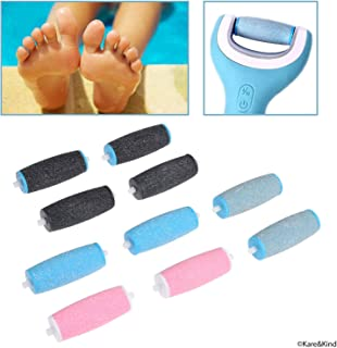 Compatible Replacement Roller Heads for Amope Pedi Perfect Electronic Foot File - Extra Coarse (4x) and Regular Coarse (6x) - Callus Removal - Smooth Feet - Essential Pedicure Accessory - 10 Pack