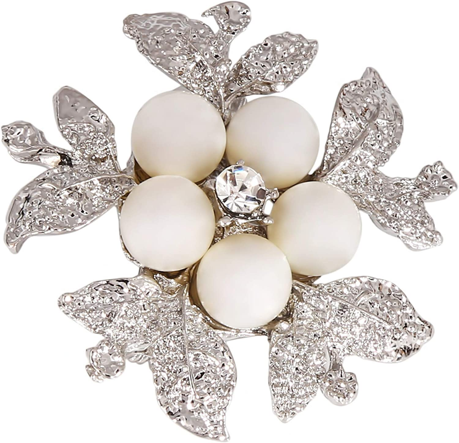 LKEEP White Imitation Pearl Brooch Rhinestone Flower Pin Scarf Buckle Clothing Accessories Corsage for Women