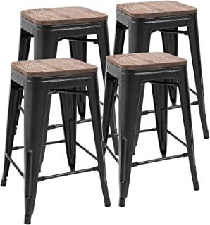 JUMMICO Metal Bar Stools Indoor-Outdoor Stackable Modern 24 Inches Black Metal Counter Height Industrial Barstools with Wooden Seat Set of 4 (Black)