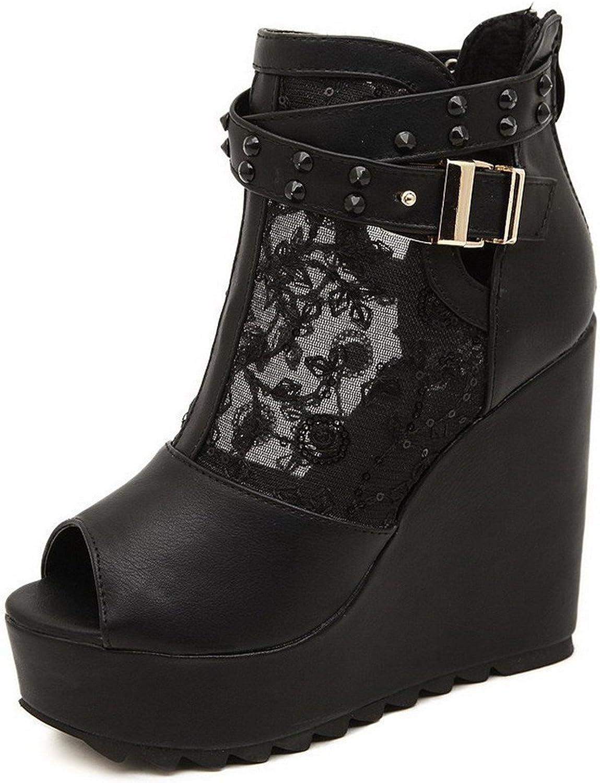 Xiaoyouny Fashionable Women's Peep Toe High Heels Solid Zipper Sandals