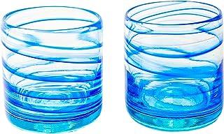 ANTONI BARCELONA Lot de 2 verres en verre à eau modernes originaux pour cadeau Bleu 440 ml