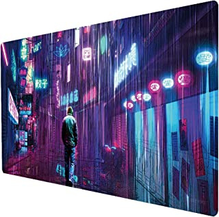 Beymemat Large Gaming Mouse Pad, Extended Size 35.4x15.7IN Desk Pad Keyboard Mat for Office & Home (90x40 raincity075)