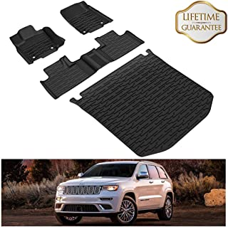 KIWI MASTER Floor Mats & Cargo Liners Set Compatible for 2016-2019 Jeep Grand Cherokee All Weather Protector Mat Front & Rear 2 Row Seat TPE Slush Liner Black