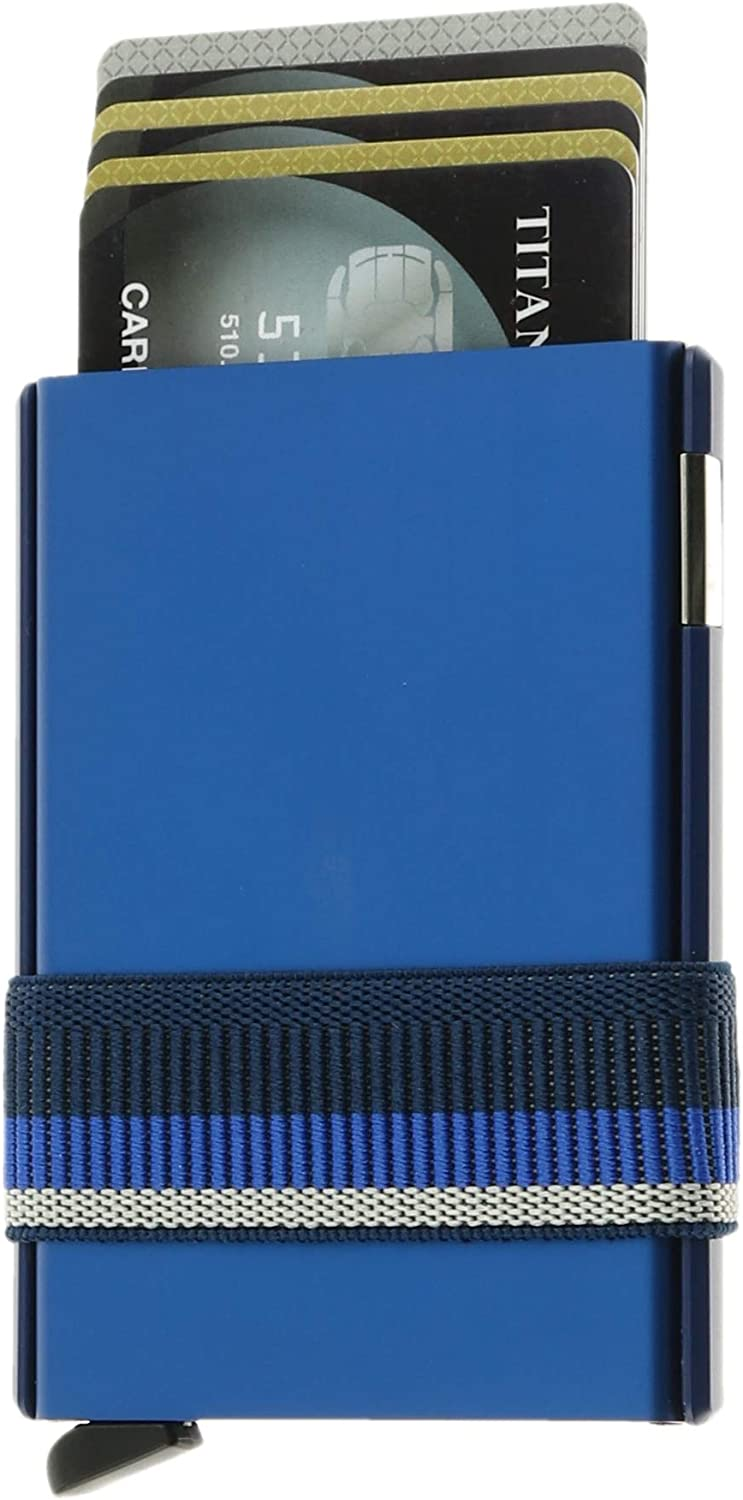 Secrid Cardslide Wallet, Cardprotector with Slide,And Money Band, Multi-Use RFID Case (Blue)