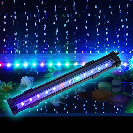 """PULACO 2 Watt Aquarium Fish Tank Air Stone with Automatic Color Changing LED Light (Length -10"""" for Small Water Tanks) for Fish Tank Air Pump"""
