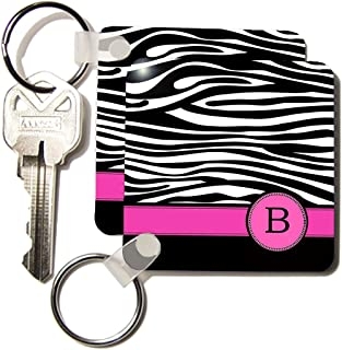 3dRose Letter B monogrammed black and white zebra stripes animal print with hot pink - Key Chains, 2.25 x 2.25 inches, set of 2 (kc_154273_1)