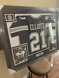 Ezekiel Elliott Framed Jersey 35X43 Authentic Autographed Signed Memorabilia Beckett Coa Real Wood