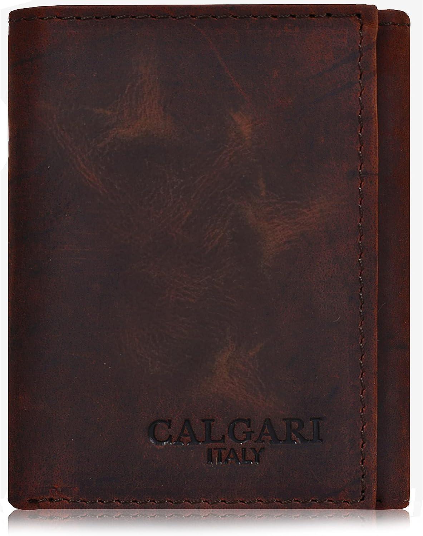 CALGARI Italian Luxury Leather Wallets For Men   Trifold