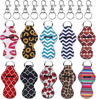 Chapstick Holder Keychain,10 Pack Lipstick Holder Keychains with 10 Metal Clip Cords Different Vibrant Prints Neoprene Lip...