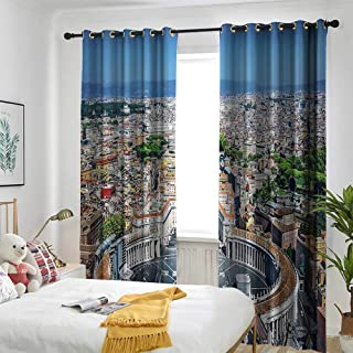 one1love European Cityscape Decor Simple Curtain Saint Peters Square in Rome Italian Mediterranean Europe Citscape Urban Mod Print Great for Living Rooms & Bedrooms 108