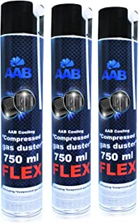 AABCOOLING Compressed Gas Duster FLEX 750ml - 3 Pièces - Bombe Depoussierante Avec un Tube Flexible, Bombe d'air Sec, Bout...