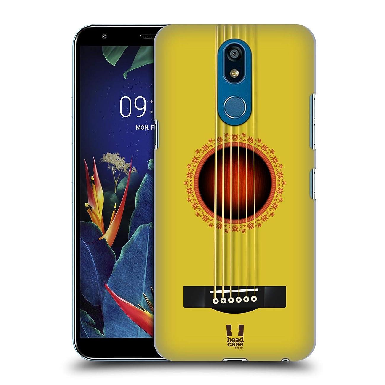 Head Case Designs Yellow Acoustic Guitar Hard Back Case Compatible for LG K40 / K12 Plus